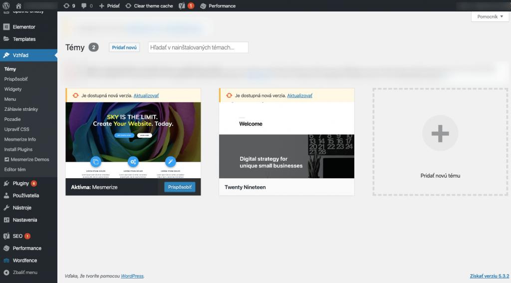 Screenshot z panelu tém v administrácii WordPressu