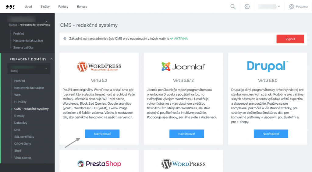Screenshot prepájania WordPress blogu vo WebSupporte