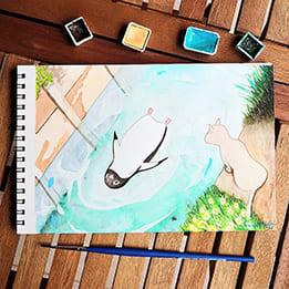 Akvarelový tučniak