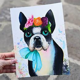 Akvarelový pug