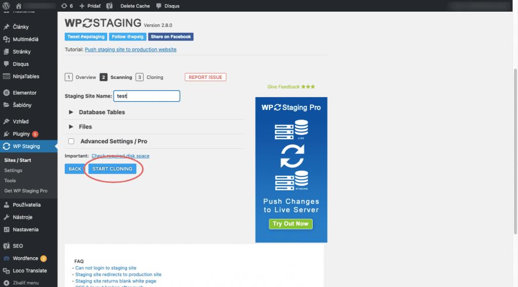 vytváranie staging stránky vo WordPresse